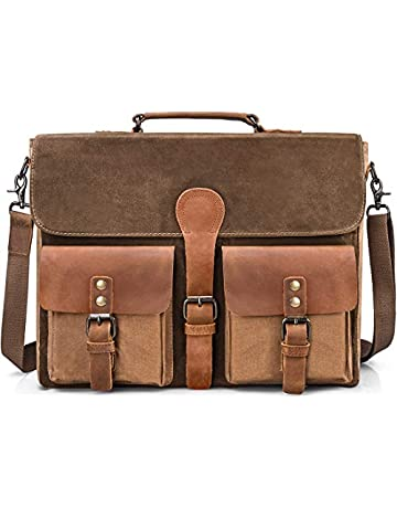 ad26f4da7aba Mens Messenger Bag Vintage Genuine Leather Large Laptop Briefcase 15.6 Inch  Waterproof Waxed Canvas Satchel Shoulder