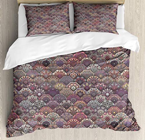 Ambesonne Moroccan Duvet Cover Set King Size, Colorful Vintage Floral Mandala Pastel Hexagonal Overlapping Design Mexican Ornate, Decorative 3 Piece Bedding Set with 2 Pillow Shams, Multicolor