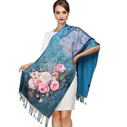 ory Silk Scarves Thick Autumn and Winter Scarves Female Long Section of Double-sided Brushed Scarf Shawl Dual (Scarf shawl dual 16) ()