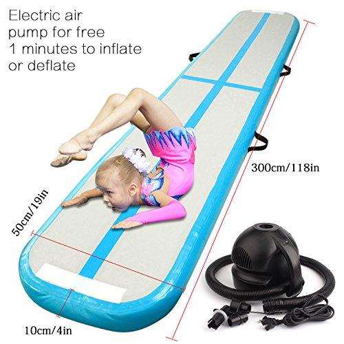 Inflatable Gymnastics AirTrack Tumbling Mat Air Track Floor Mats with Electric Air Pump for Home Use/Training/Cheerleading/Beach/Park and Water Length 9.8foot-(300cm)