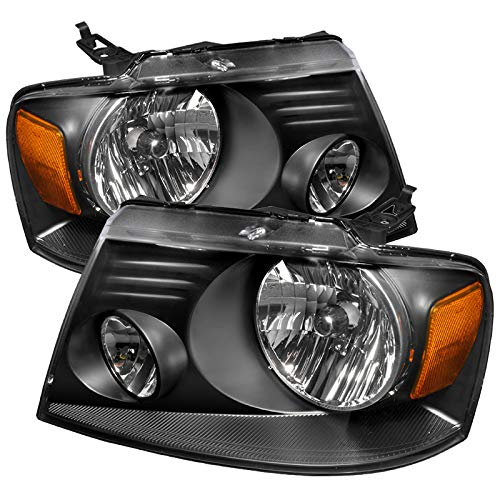 CARPARTSINNOVATE For Ford 04-08 F150 Lincoln 06-08 Mark LT Euro Black Clear Headlights Driving Lamps (Black Clear Crystal Headlights)