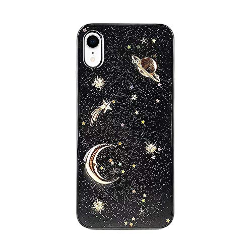 Case Stars Design Silver (Elegant Shiny Glitter Design for iPhone XR Case with Gold 3D Moon Star Soft Slim Gel TPU Rubber Fashion Handmade Girly Phone Cover)