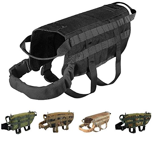 "TACTICAL DOG VEST HARNESS K9 MOLLE HUNTING MILITARY HOOK AND LOOP PATCH PANEL XS, S, M, L, XL (BLACK, XS: Chest up to 18"")"