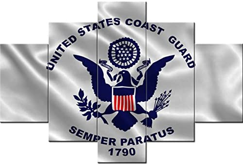 Black and White Wall Art Native American Decor 5 Piece Canvas Paintings of US Coast Guard Flag Modern Pictures Home Decor