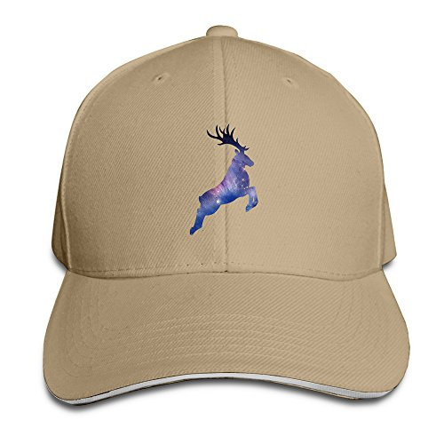 (Galaxy White Tailed Deer Print Trucker Unisex Adjustable Sandwich Cap Natural)