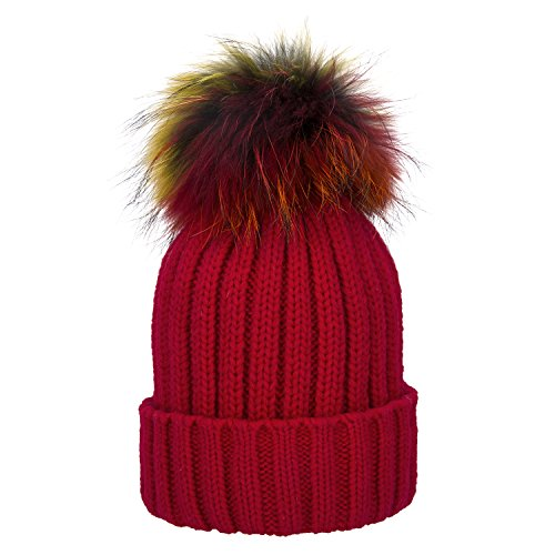 Womens Girls Winter Detachable Large Raccoon Fur Pom Pom Cap Knit Beanie Hat (Red)