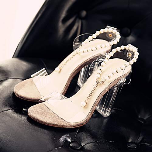 Tacchi Naked Moda da Con Alti Trasparente Scarpe Fibbie Sandali Rotonda donna Testa I Estate A 11Cm GTVERNH Piccole color Nuove Scarpe wP4xpp