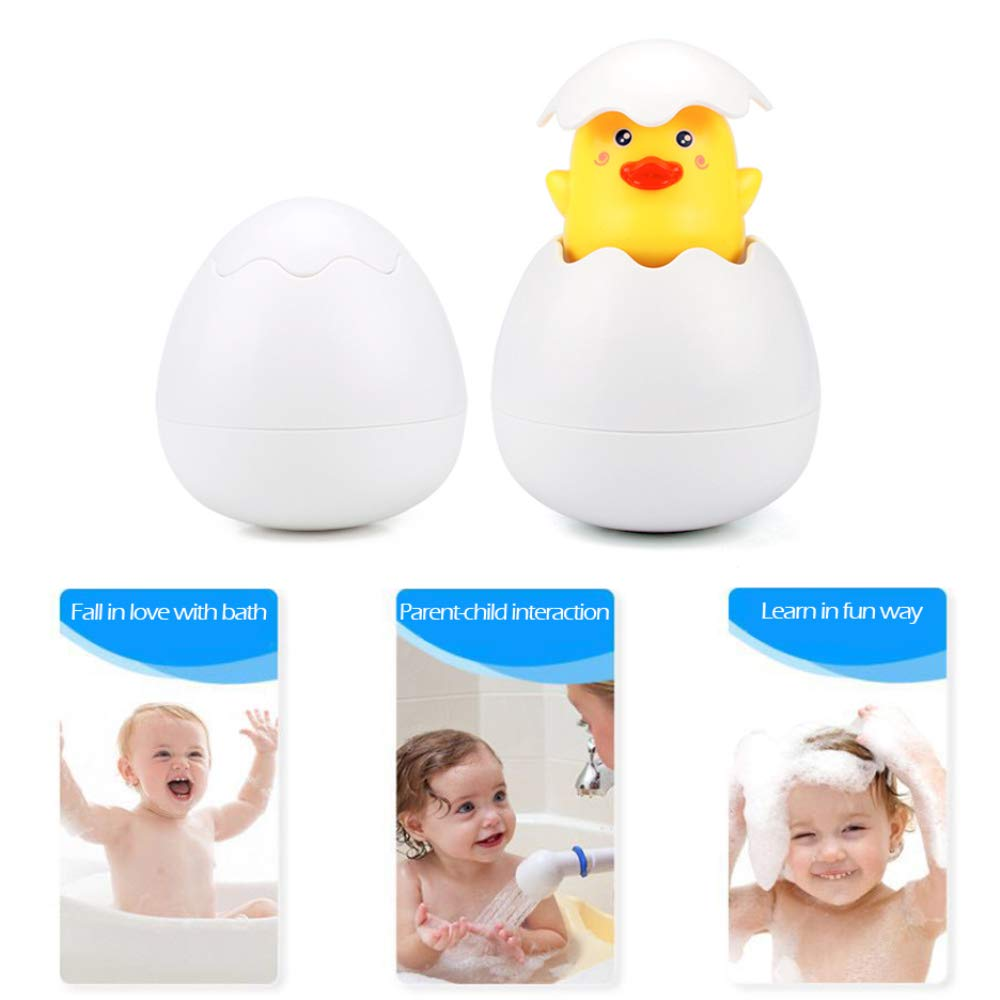 Baby Bath Toys for Over 12 Months Toddlers Hidden in Egg Sprinkling Duck Bathtub Toys Best Gift Toys for Kids Poloret