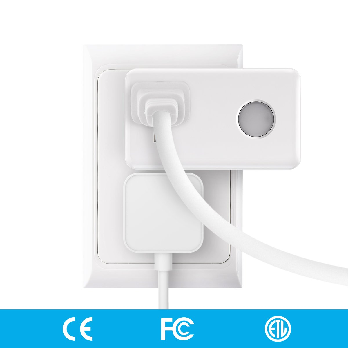 Smart Plug with Night Light, BroadLink Wi-Fi Mini Outlet, No Hub Required, Remote Control Your Devices from Anywhere, White (SP3-US), Works with Alexa
