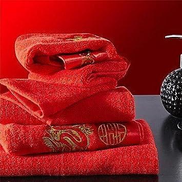 2pcs toallas toallas de mano Pack, bordados rojos Festival para la boda de diseño 100% Algodón Toalla de mano: Amazon.es: Hogar