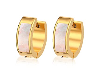959826d77 Image Unavailable. Image not available for. Color: SHENRAN Stainless Steel  Womens Hoop Earrings for Men Huggie Ear Piercings Hypoallergenic ...