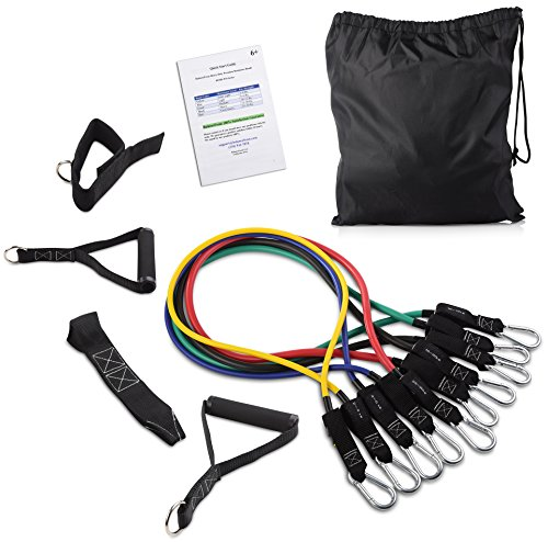 All Purpose Band - BalanceFrom Resistance Band Set - Include 5 Stackable Exercise Bands with Carrying Bag, Door Anchor Attachment, Legs Ankle Straps
