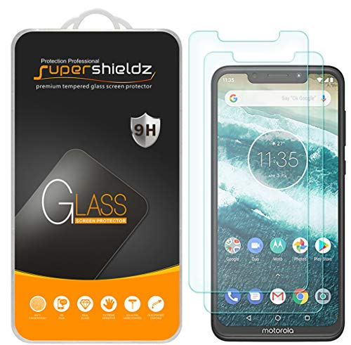 (2 Pack) Supershieldz for Motorola One (Moto One) Tempered Glass Screen Protector, Anti Scratch, Bubble Free ()