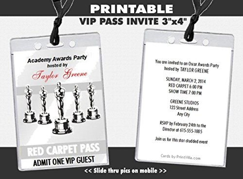 Oscar Awards Silver Party VIP Pass Invitation, -