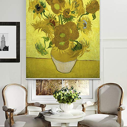 (PASSENGER PIGEON Blackout Window Shades, Sunflower 1889 Vincent Van Goah, Premium UV Protection Custom Roller Blinds, 56