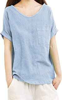 Bummyo Women Ladies Solid Round Neck Short Sleeve Pocket Cotton And Linen Loose Casual T-shirts Top Blouse Tunic(L, Blue)
