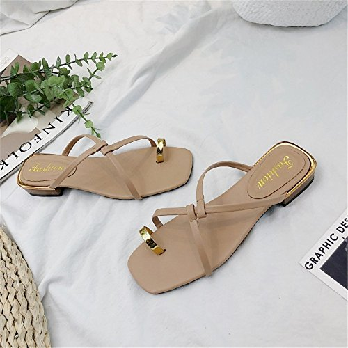 Black love de Color Las beauty con bajo Apricot de 1 Zapatillas Gladiador Angel de Sandalias Mujeres Color 3EU 37 Zapatillas con Tirantes Playa Planas Sandalias Size Tacón Tirolés 1dACqxqw