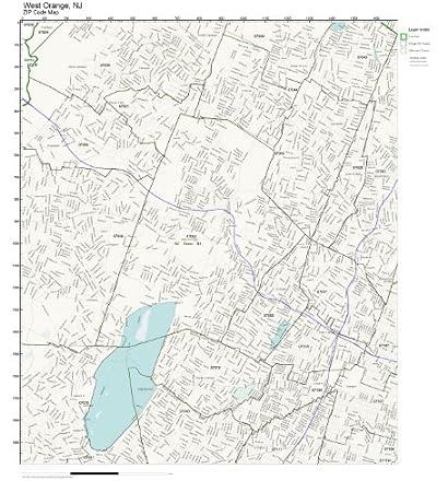 Amazon.com: ZIP Code Wall Map of West Orange, NJ ZIP Code Map ... on