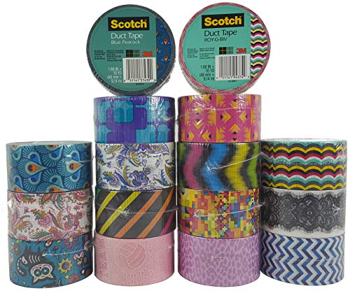 Scotch Brand Duct Tape Set (16 Assorted Rolls) Colored Duct Tape Variety Pack, Duct Tape Bulk Lot for Duct Tape Designs, DIY -