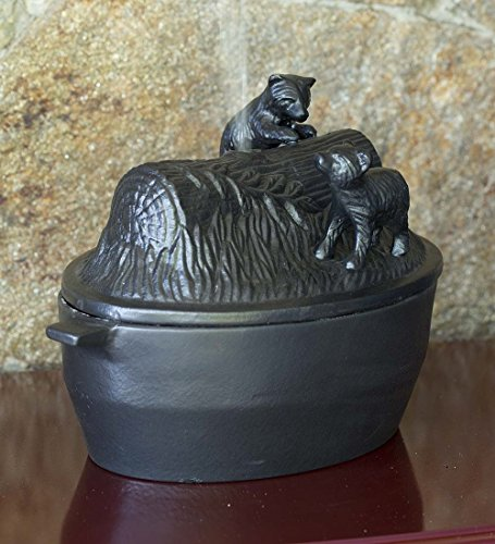 Plow & Hearth Cast Iron Bear Cub Wood Stove - Enamel Iron Steamer Cast