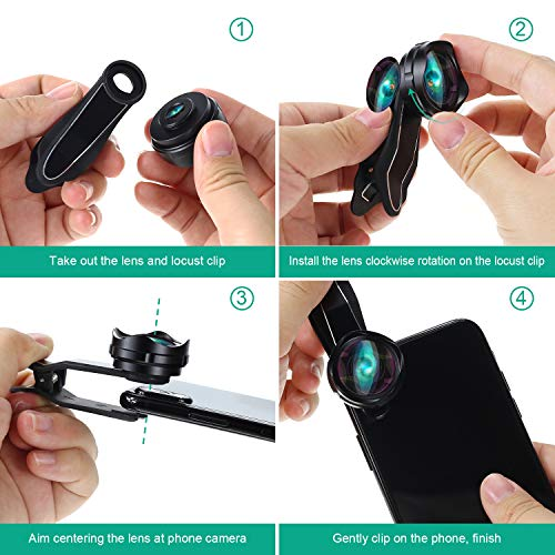 Phone Camera Lens, AiKEGlobal 2 in 1 Macro Lens,Wide Angle Lens, Universal Cell Phone Lens Kit Great Compatible iPhone, Android, iPad and Tablets by AiKEGlobal (Image #6)