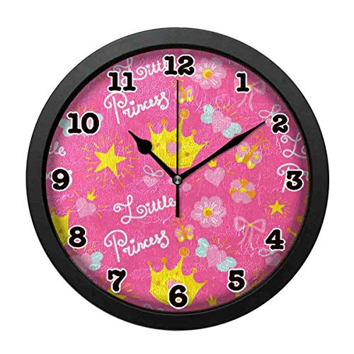 (jiushiyigezi-n Wall Clock-Pink Princess Beautiful Personality Decorative Wall Clock for Bedroom、Office and Living room-10 inches)