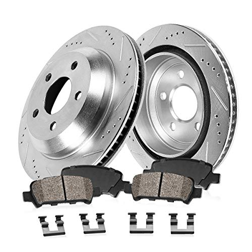 Callahan CDS03328 REAR 289.8mm Drilled & Slotted 5 Lug [2] Rotors + Ceramic Brake Pads + Clips [ Legacy ]
