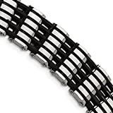 ICE CARATS Stainless Steel Black Rubber 8.5 Inch Bracelet 8.50 Men Fashion Jewelry Dad Mens Gift Set