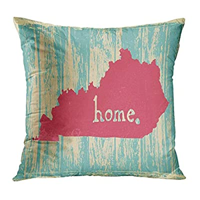"""ComfortFT songliangq Throw Pillow Cover Area Kentucky Nostalgic Rustic Vintage State Sign Map America Decorative Pillow Case Home Decor Square 18"""" x 18"""" Pillowcase"""