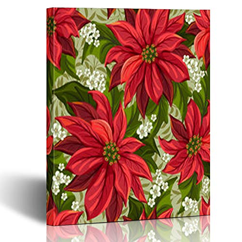 Krezy Decor Canvas Print Wall Art Red Wonderful Poinsettia Art