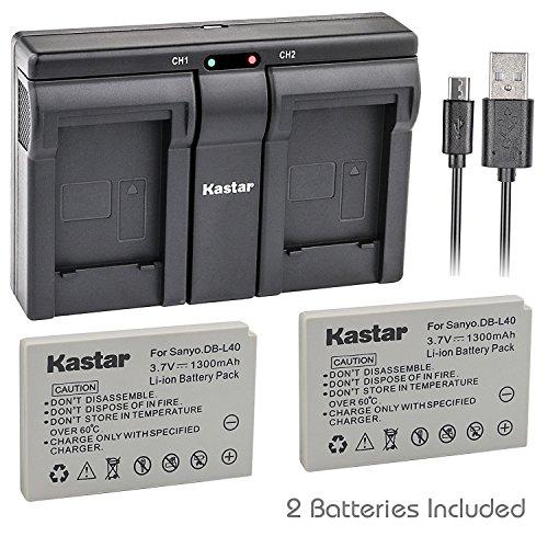 Kastar 2x Battery + USB Dual Charger for Sanyo DB-L40, DB-L40AU and Sanyo Xacti DMX-HD1, DMX-HD1A, DMW-HD2, DMX-HD15, DMX-HD700, DMX-HD800, VPC-HD1, VPC-HD1A, VPC-HD1E, VPC-HD2, VPC-HD700, (Sanyo Xacti Hd1a)