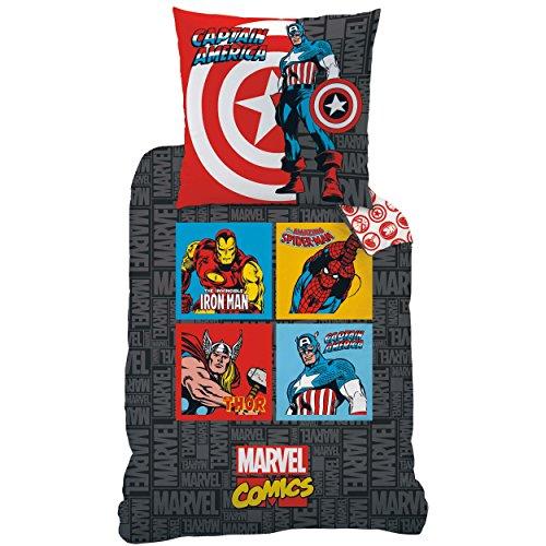 Avengers 042685 Bettwäsche Comics Grey, Baumwolle Linon, 135 x 200 und 80 x 80 cm