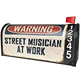 NEONBLOND Warning Street Musician at Work Vintage Fun Job Sign Magnetic Mailbox Cover Custom Numbers