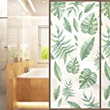 AmazingWall Window Film Nordic Style Palm Leaves Privacy Frosted Home Office Shower Bathroom Decals Decorative Glass 22.8x70.9
