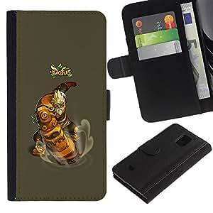 EJOY---Tirón de la caja Cartera de cuero con ranuras para tarjetas / Samsung Galaxy S5 Mini, SM-G800 / --Dofus