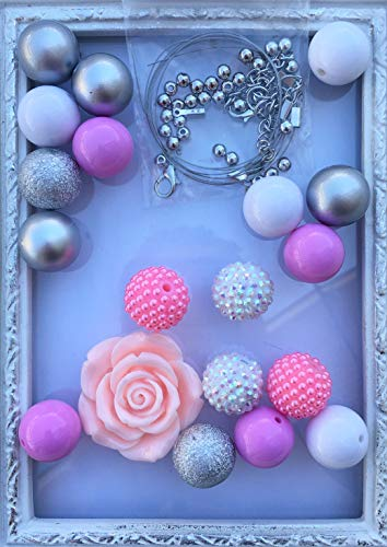 (20mm Pink, Silver, White DIY Necklace Kit with Hardware Chunky Bubble Gum Acrylic Bead Pack Necklace Kit)