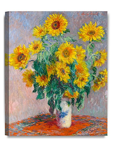 - DECORARTS - Monet Sunflowers, Claude Monet Art Reproduction. Giclee Canvas Prints Wall Art for Home Decor 20x16