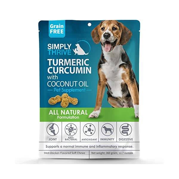 Turmeric Curcumin Supplement for Dogs | 90 ct Soft Chew Treats | Helps With Mobility Hip Joint & Arthritis | Coconut Oil Aids Digestion and Immunity | Natural Source of Antioxidant, Antiinflammatory 1
