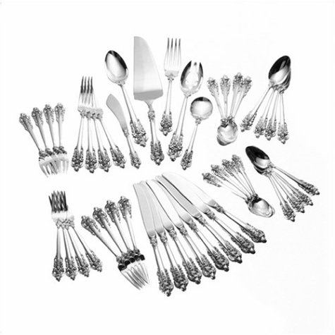 Christmas Tablescape Décor - Wallace Grande Baroque Sterling Silver 46-Pc Flatware Set, Service for 8