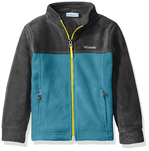 Columbia Big Boys' Steens MT II Fleece Jacket, Deep Marine/Charcoal Heather, X-Large - Deep Heather Charcoal