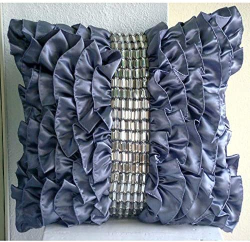 The HomeCentric Handmade Purple Euro Pillowcases 26×26 inch 65×65 cm , Satin European Sham Covers, Solid Color, Ruffles, Crystals, Modern Euro Pillow Shams – Diamonds N Dreams