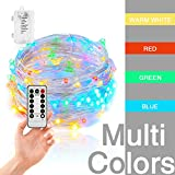 [Remote & Timer] 16FT/5M Colorful Battery Operated Fairy Lights with Remote Control, Sliver Wire String Lights for Outdoor, Indoor, Wedding, Christmas or Backyard 8 Modes (Multi-Color)