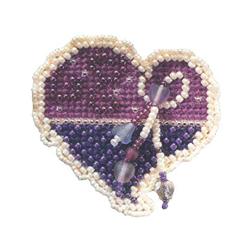 Treasured Heart Beaded Counted Cross Stitch Ornament Kit Mill Hill 2006 Spring Bouquet MH18-6104