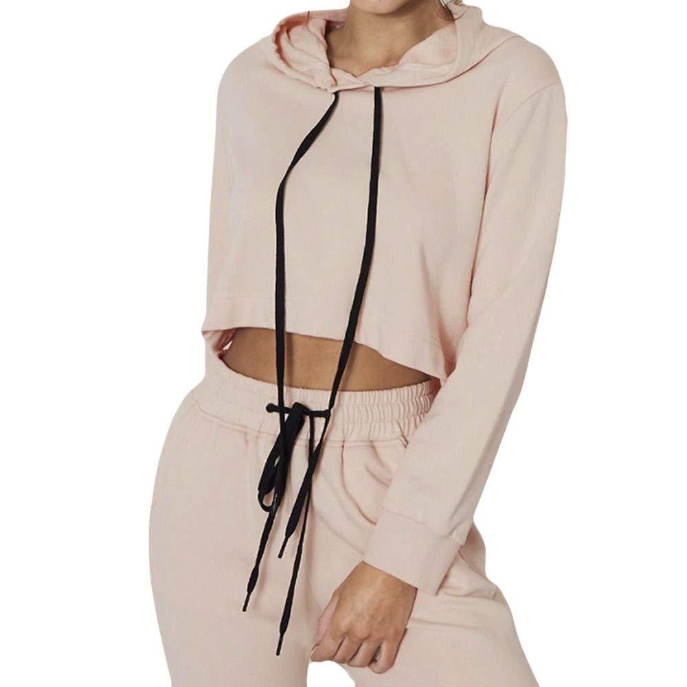 Gocheaper Women's Teen Girl Crop Top Hoodie Long Sleeve Solid O-Neck Drawstring Bandage Sweatshirt Blouse Top (S, Beige)
