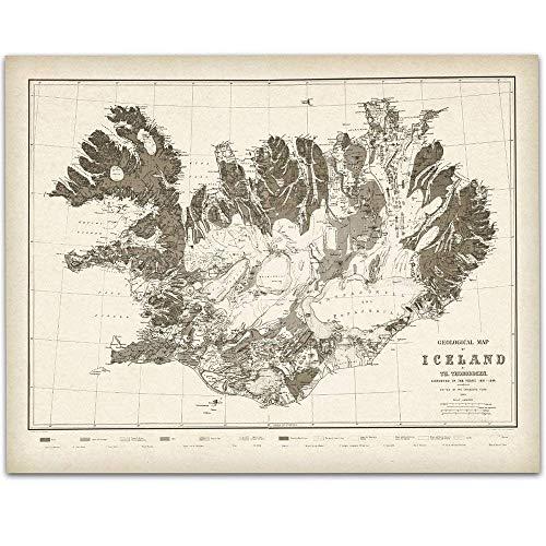 1901 Iceland Map - 11x14 Unframed Art Print - Great Vintage Home Decor Under $15