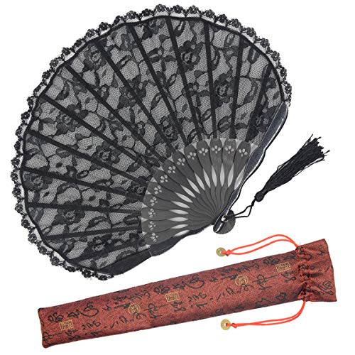 OMyTea ''Sexy Lace 9.06''(23cm) Women Folding Hand Fan Bamboo Frame a Fabric Sleeve Protection Gifts - Chinese/Japanese Vintage Retro Style (Black Shell) by OMyTea
