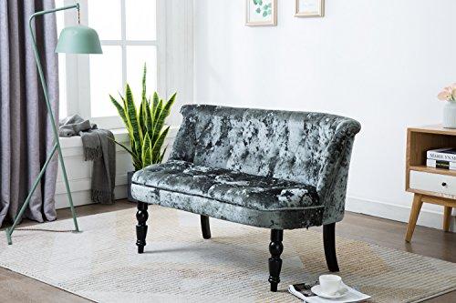 Kings Brand Furniture - Diana Velvet Tufted Upholstered Settee Bench, Gray (Furniture Tufted Settee)