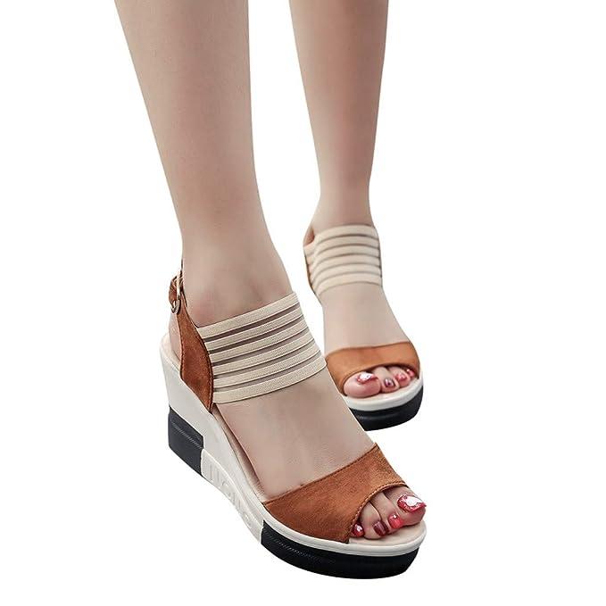... Costura Polaca Peep Toe Sandalias de Cerrojo Playa Zapatos de Verano Zapatos de tacón Sandalias Bohemia Mocasines Chanclas: Amazon.es: Ropa y accesorios