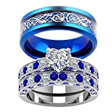 (US) LOVERSRING 3pc Two Rings His and Hers Couple Rings Bridal Sets His Hers Women White Gold Filled Heart Cz Man Stainless Steel Wedding Ring Band Set
