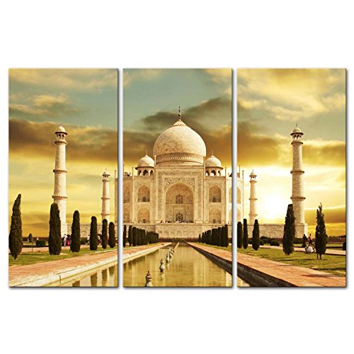 So Crazy Art - Canvas Print Wall Art Painting For Home Decor,White Marble Taj Mahal Palace In Agra India On Sunrise India Uttar Pradesh 3 Piece Panel Paintings Modern Giclee Stretched And Framed Artwork The Picture For Living Room Decoration,Landscape Pictures Photo Prints On Canvas